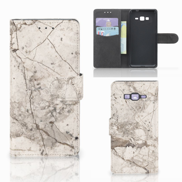 Samsung Galaxy Grand Prime | Grand Prime VE G531F Bookcase Marmer Beige