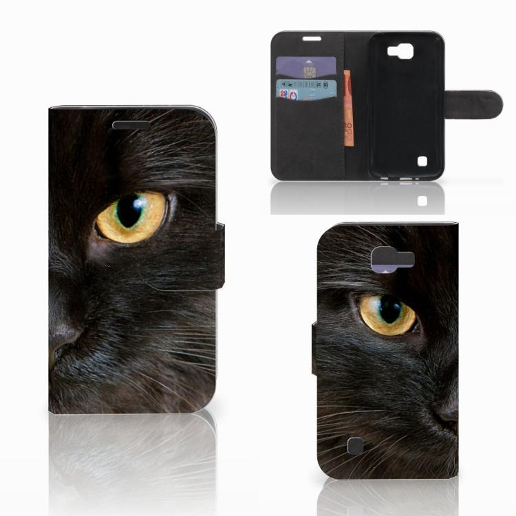 LG K4 Telefoonhoesje met Pasjes Zwarte Kat