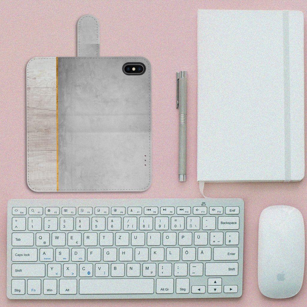 Apple iPhone X | Xs Book Style Case Wood Concrete