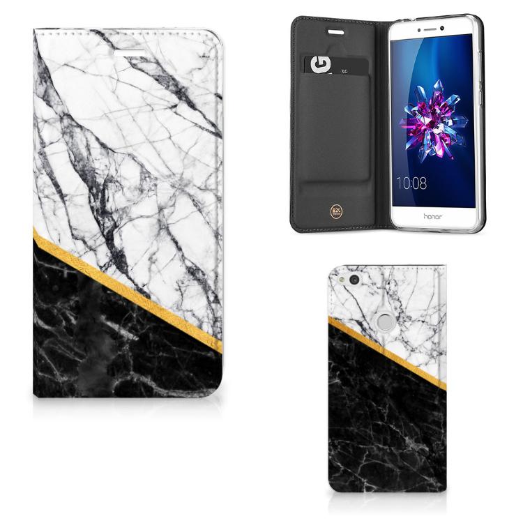 Huawei P8 Lite 2017 Standcase Marmer Wit Zwart