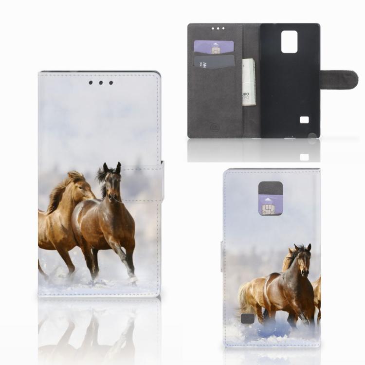 Samsung Galaxy Note 4 Telefoonhoesje met Pasjes Paarden