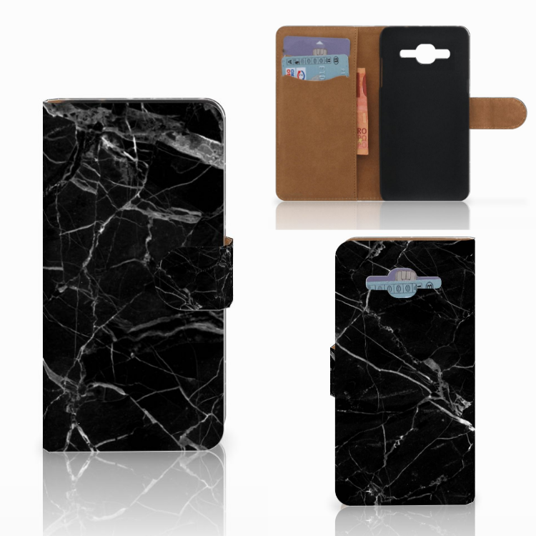 Samsung Galaxy J2 2016 Bookcase Marmer Zwart