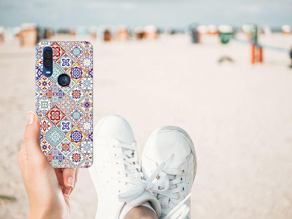 Motorola One Vision TPU Siliconen Hoesje Tiles Color