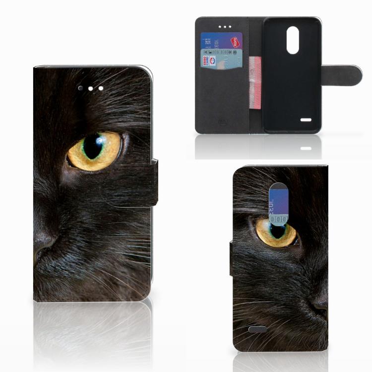 LG K11 Telefoonhoesje met Pasjes Zwarte Kat