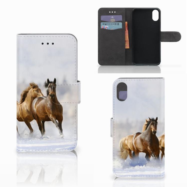 Apple iPhone X   Xs Telefoonhoesje met Pasjes Paarden