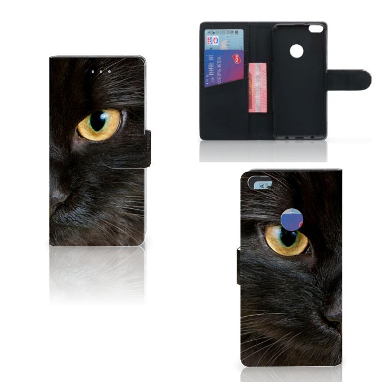 Huawei P8 Lite 2017 Telefoonhoesje met Pasjes Zwarte Kat