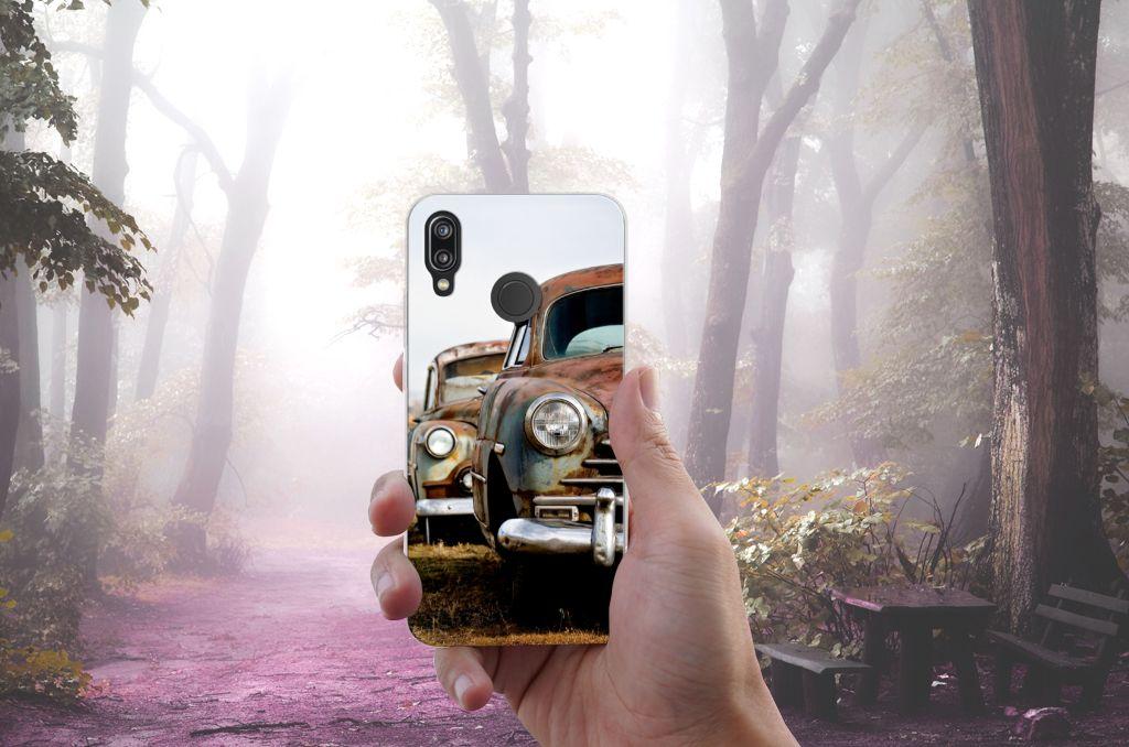 Huawei P20 Lite Siliconen Hoesje met foto Vintage Auto