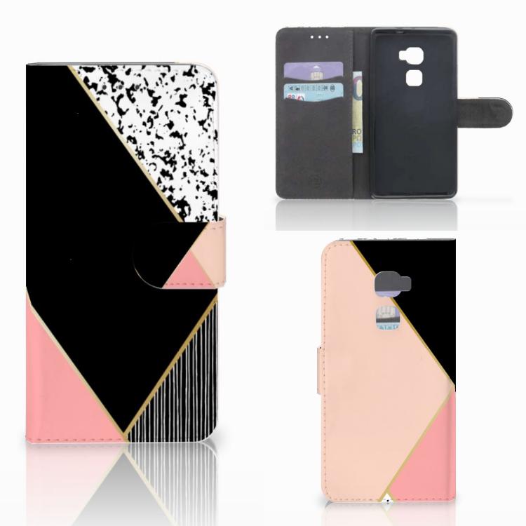 Huawei Mate S Bookcase Zwart Roze Vormen