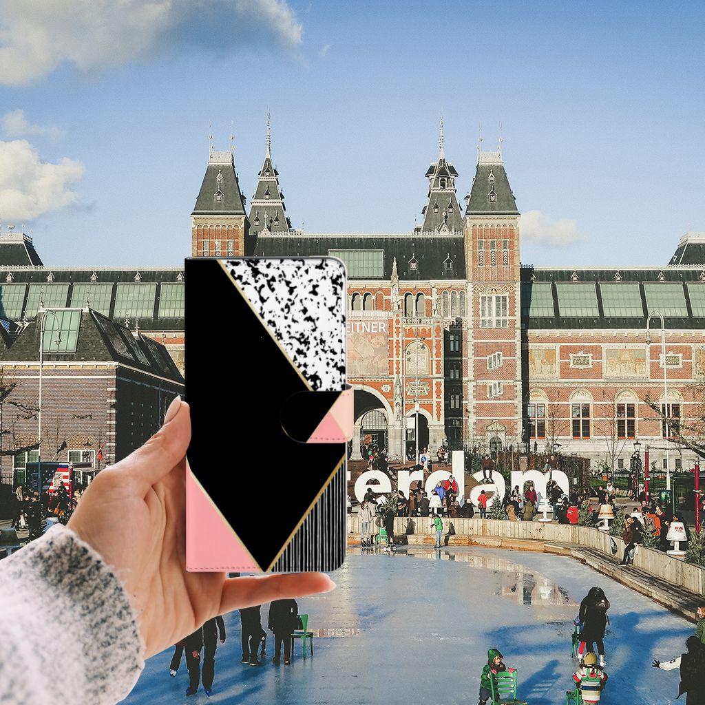 Samsung Galaxy J6 Plus (2018) Uniek Boekhoesje Black Pink Shapes