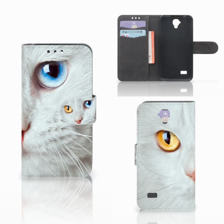 Huawei Y5 Y560 Telefoonhoesje met Pasjes Witte Kat
