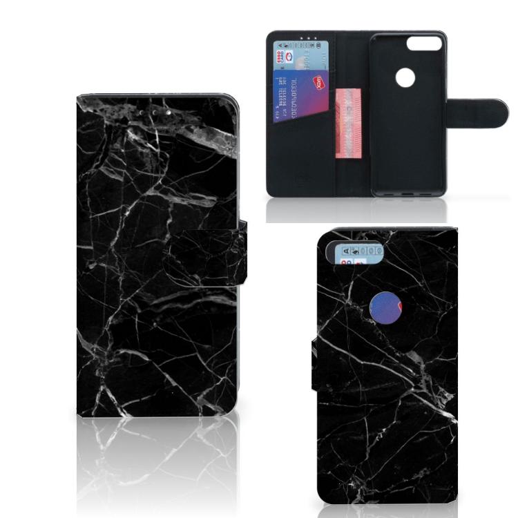 Alcatel 1S (2019) Bookcase Marmer Zwart - Origineel Cadeau Vader