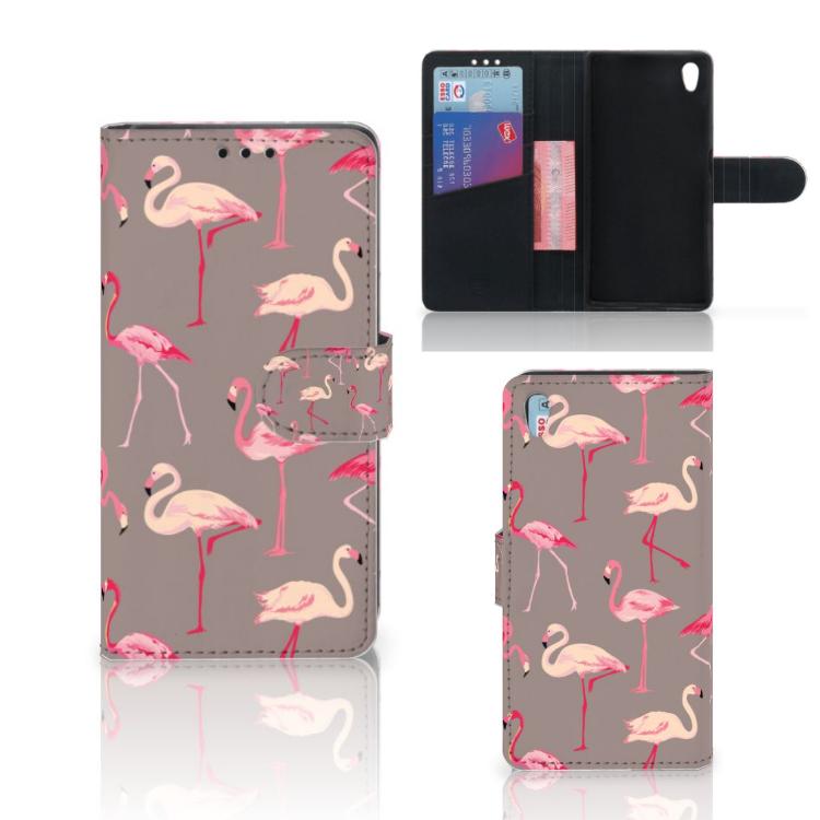 Sony Xperia Z5 | Z5 Dual Telefoonhoesje met Pasjes Flamingo