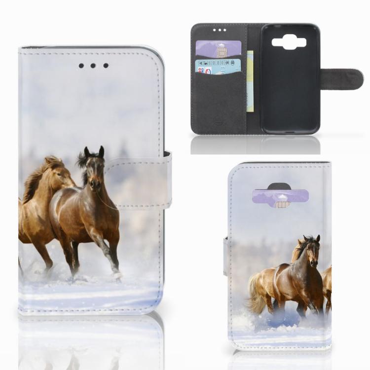 Samsung Galaxy Core Prime Telefoonhoesje met Pasjes Paarden