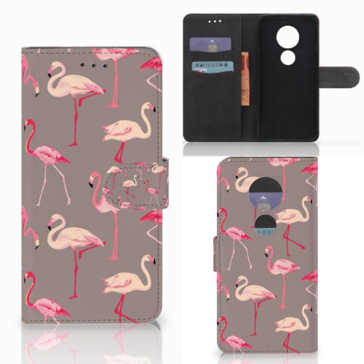 Motorola Moto E5 Play Telefoonhoesje met Pasjes Flamingo