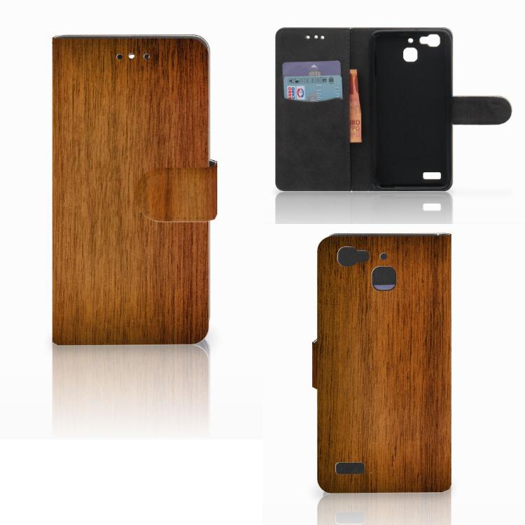 Huawei P8 Lite Smart (GR3) Book Style Case Donker Hout