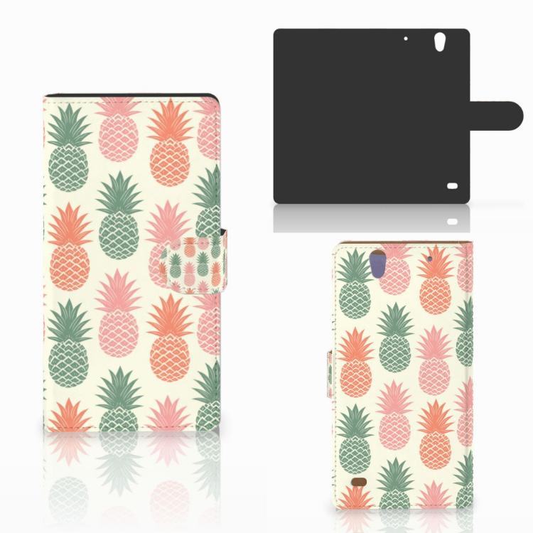 Sony Xperia C4 Book Cover Ananas