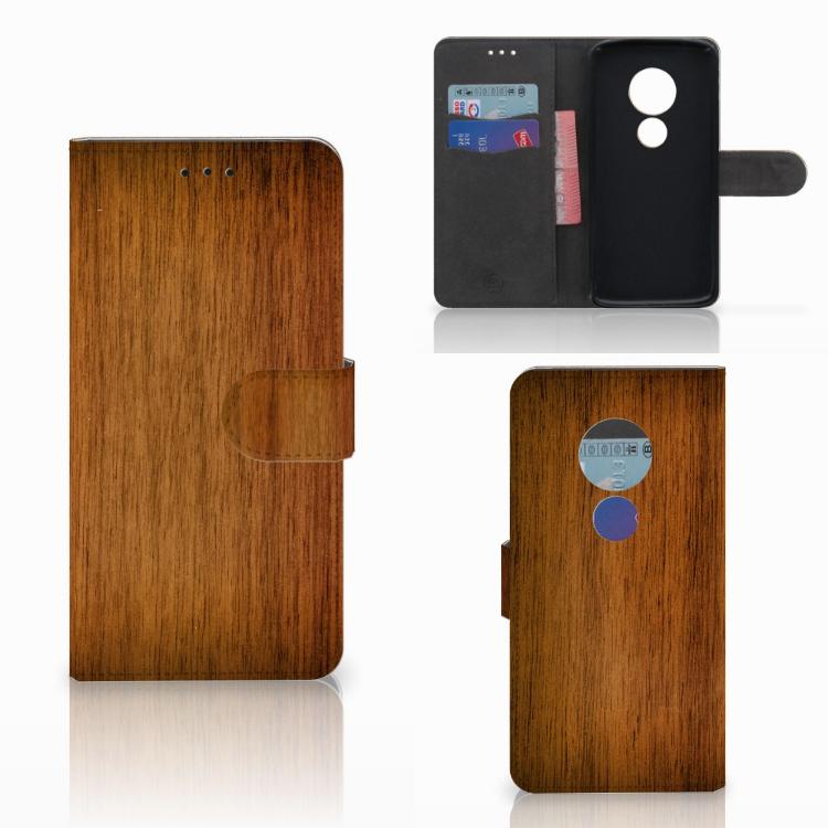 Motorola Moto E5 Book Style Case Donker Hout