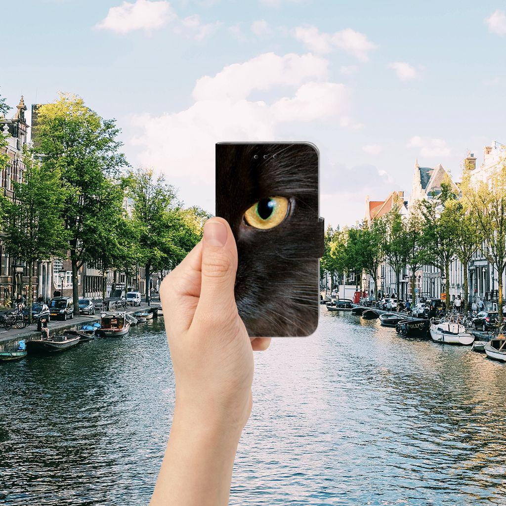 Microsoft Lumia 550 Telefoonhoesje met Pasjes Zwarte Kat