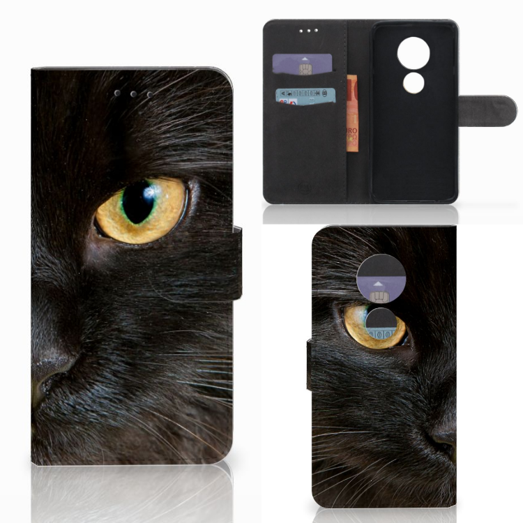 Motorola Moto E5 Play Telefoonhoesje met Pasjes Zwarte Kat