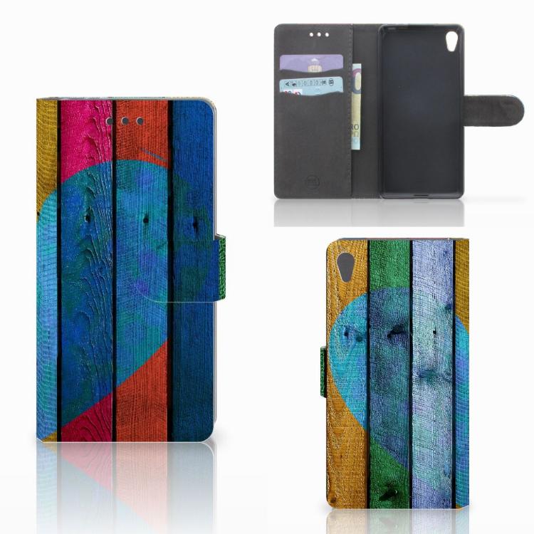 Sony Xperia E5 Book Style Case Wood Heart