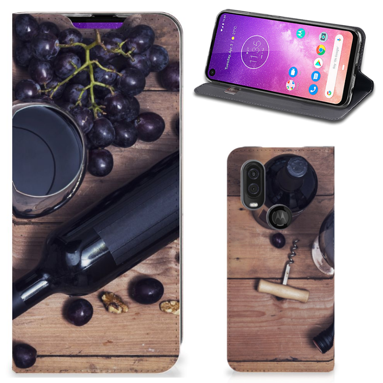 Motorola One Vision Flip Style Cover Wijn