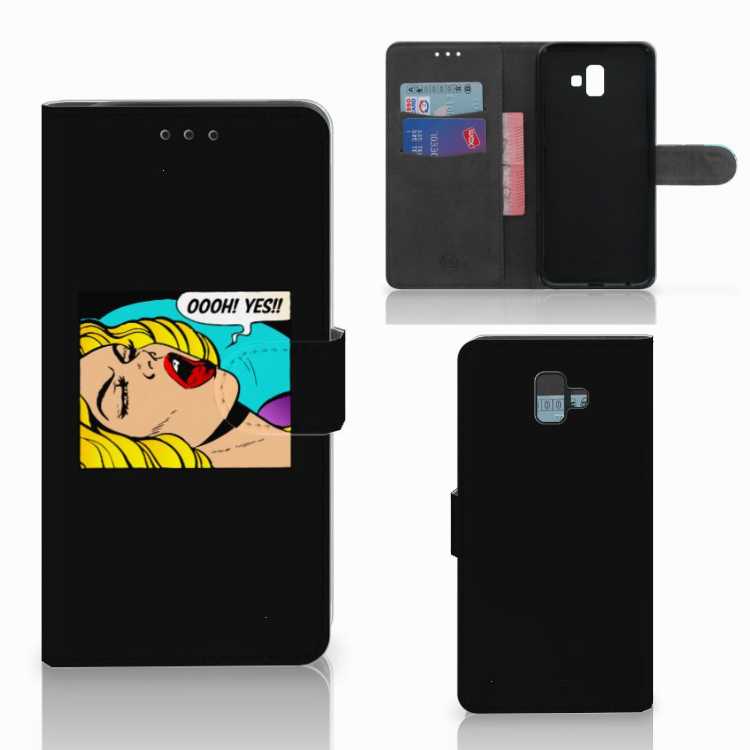 Samsung Galaxy J6 Plus (2018) Wallet Case met Pasjes Popart Oh Yes