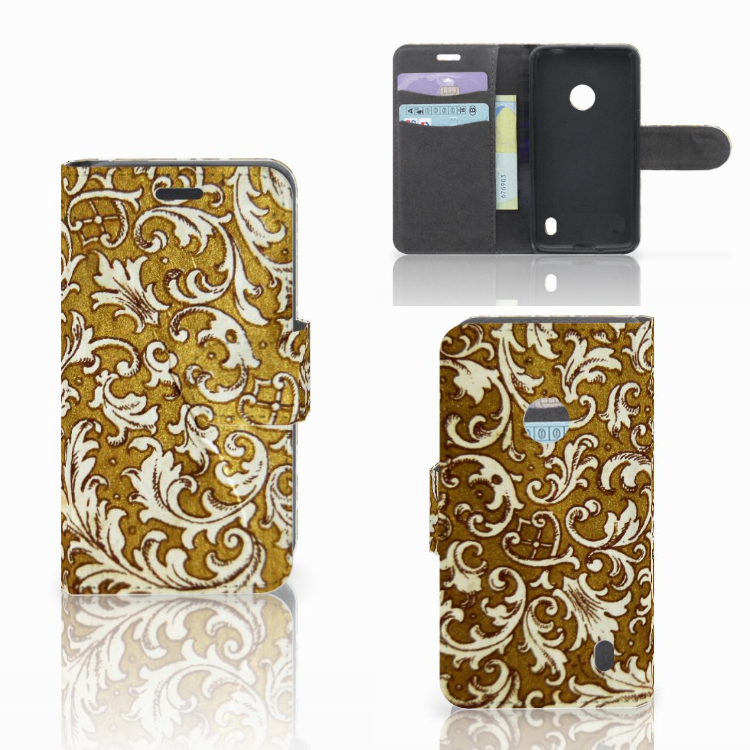 Wallet Case Nokia Lumia 520 Barok Goud