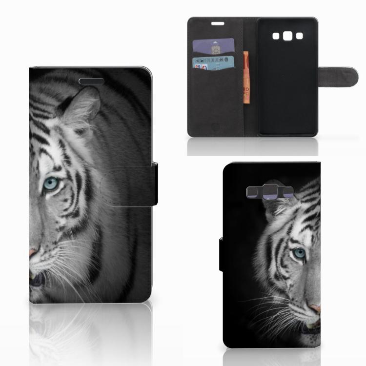 Samsung Galaxy A7 2015 Telefoonhoesje met Pasjes Tijger