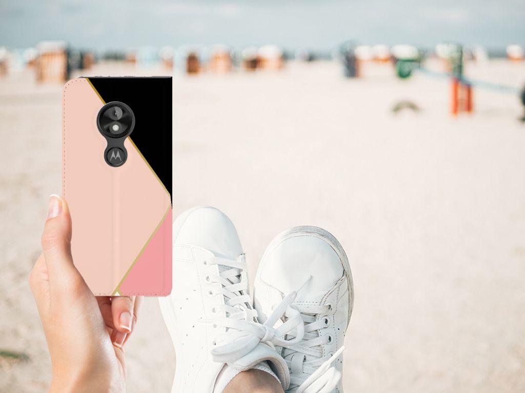 Motorola Moto E5 Play Stand Case Zwart Roze Vormen