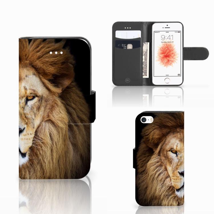 Apple iPhone 5   5s   SE Telefoonhoesje met Pasjes Leeuw