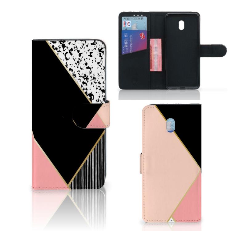 Xiaomi Redmi 8A Bookcase Zwart Roze Vormen