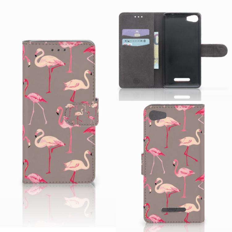 Wiko Lenny 2 Telefoonhoesje met Pasjes Flamingo
