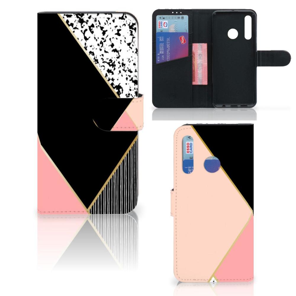 Huawei P Smart 2019 Bookcase Zwart Roze Vormen