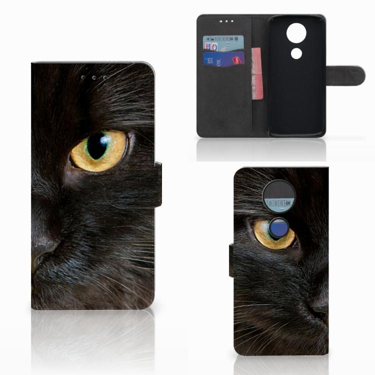 Motorola Moto E5 Plus Telefoonhoesje met Pasjes Zwarte Kat