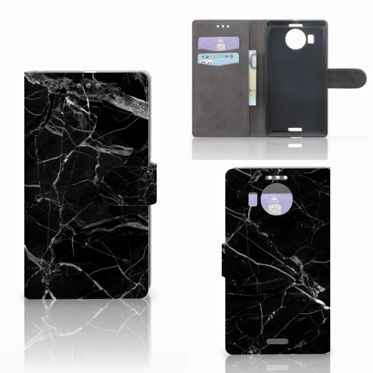 Microsoft Lumia 950 XL Bookcase Marmer Zwart - Origineel Cadeau Vader