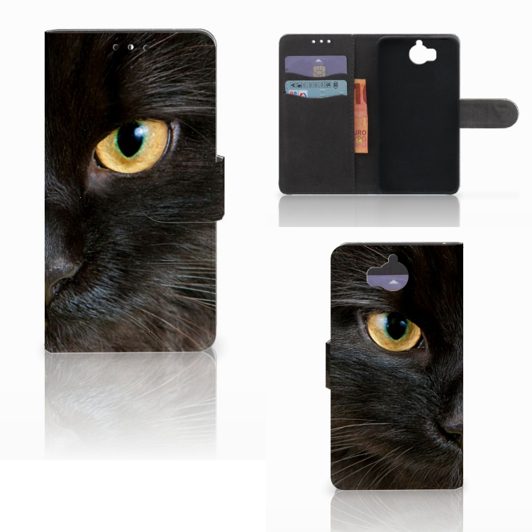 Huawei Y5 | Y6 2017 Telefoonhoesje met Pasjes Zwarte Kat