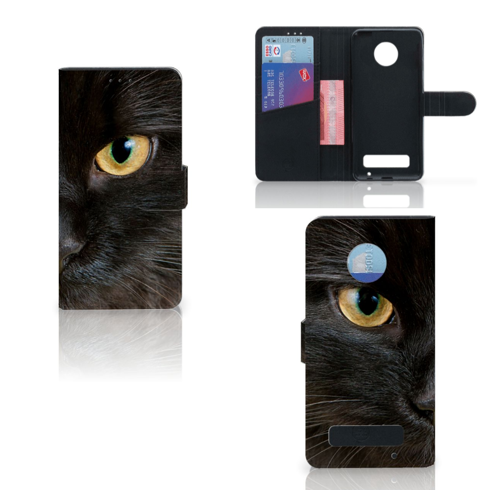 Motorola Moto Z Play Telefoonhoesje met Pasjes Zwarte Kat