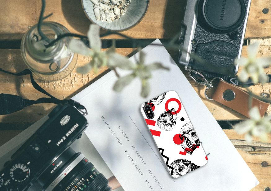 Apple iPhone X | Xs TPU Hoesje Design Skull Red