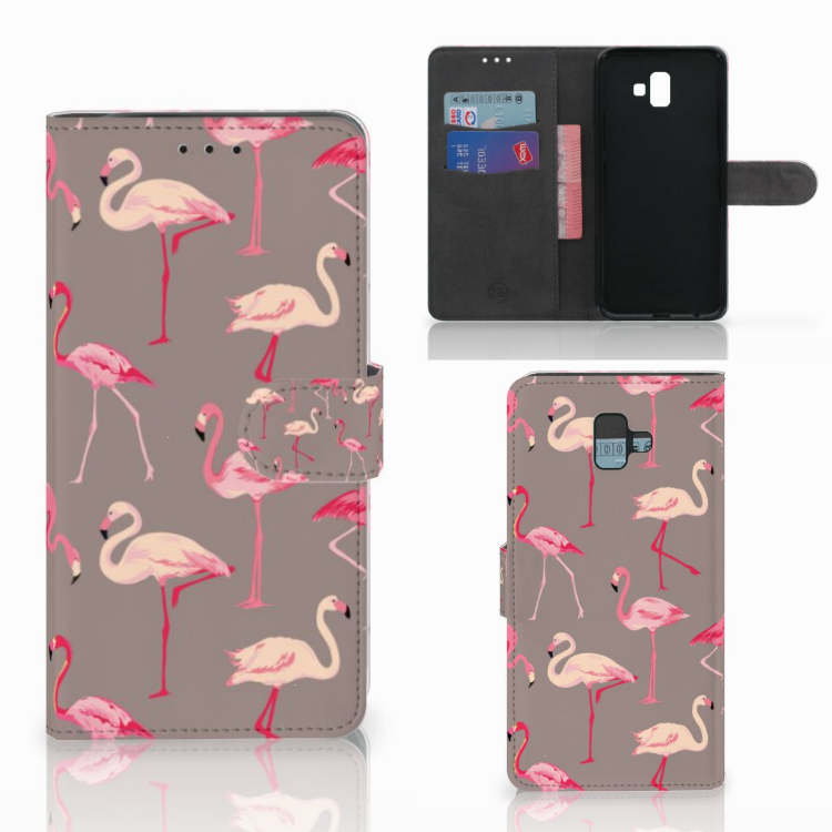 Samsung Galaxy J6 Plus (2018) Telefoonhoesje met Pasjes Flamingo
