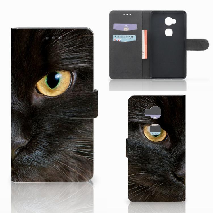 Huawei Honor 5X Telefoonhoesje met Pasjes Zwarte Kat