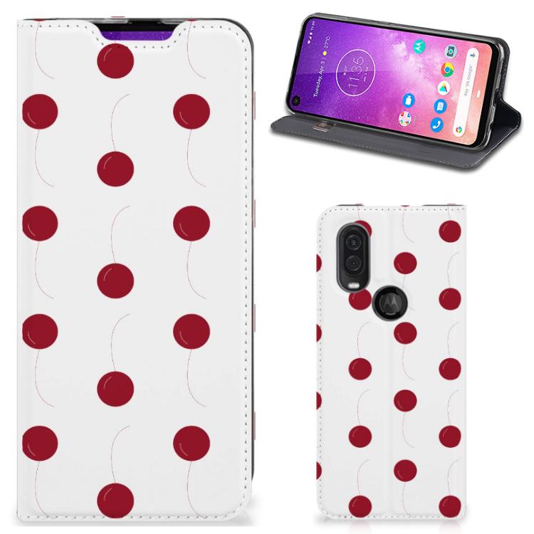 Motorola One Vision Flip Style Cover Cherries