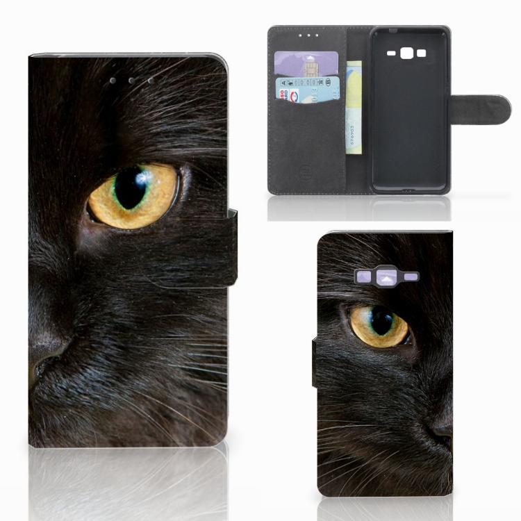 Samsung Galaxy Grand Prime | Grand Prime VE G531F Telefoonhoesje met Pasjes Zwarte Kat