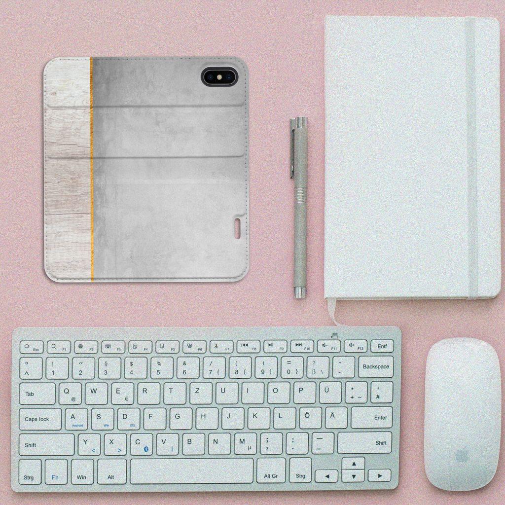 Apple iPhone X | Xs Uniek Standcase Hoesje Wood Concrete
