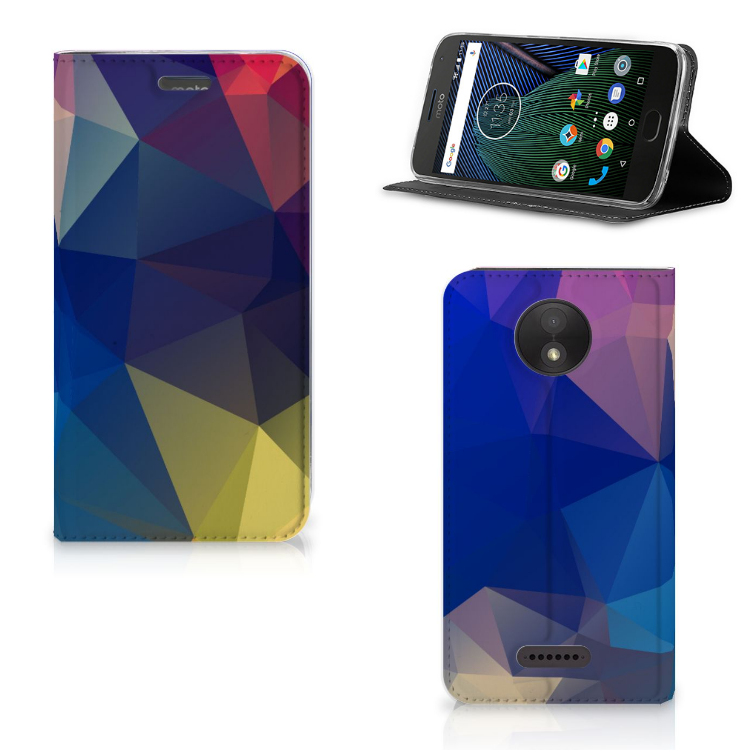 Motorola Moto C Plus Stand Case Polygon Dark