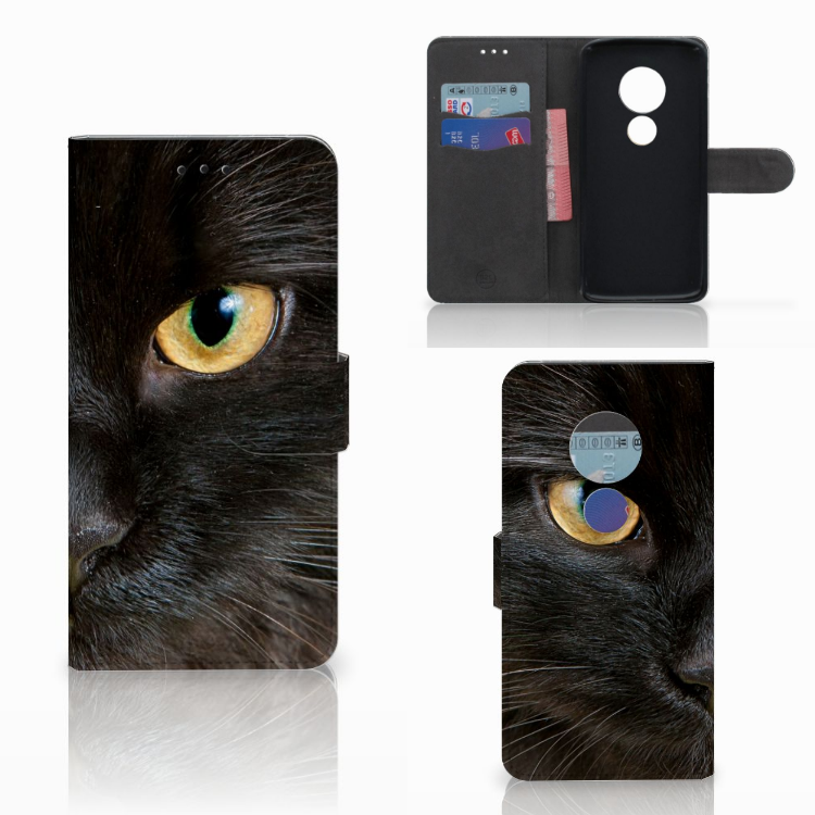 Motorola Moto E5 Telefoonhoesje met Pasjes Zwarte Kat