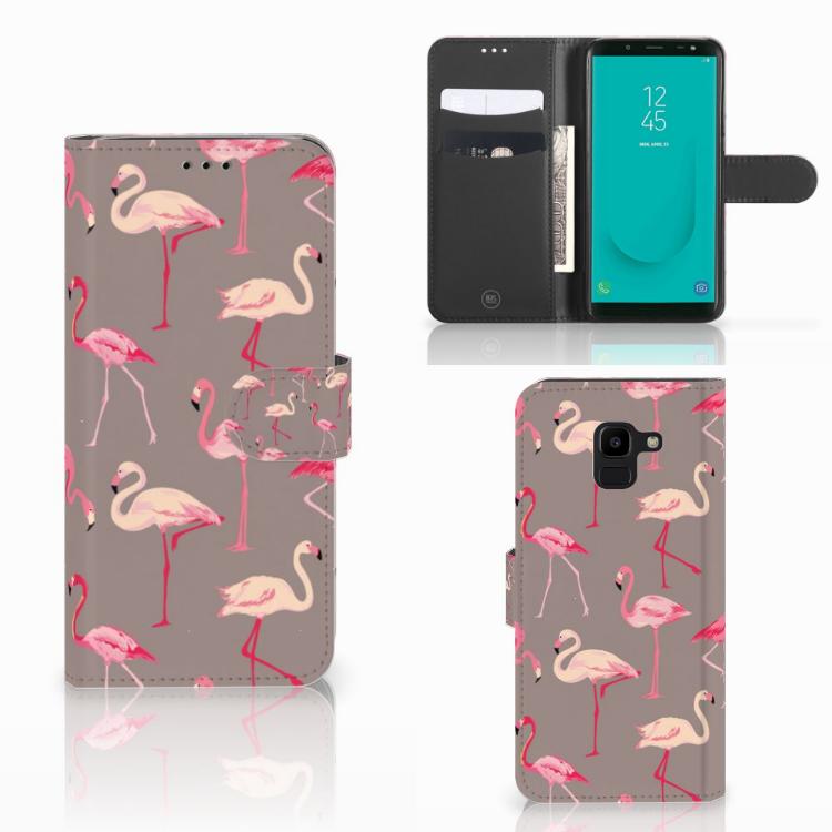 Samsung Galaxy J6 2018 Telefoonhoesje met Pasjes Flamingo