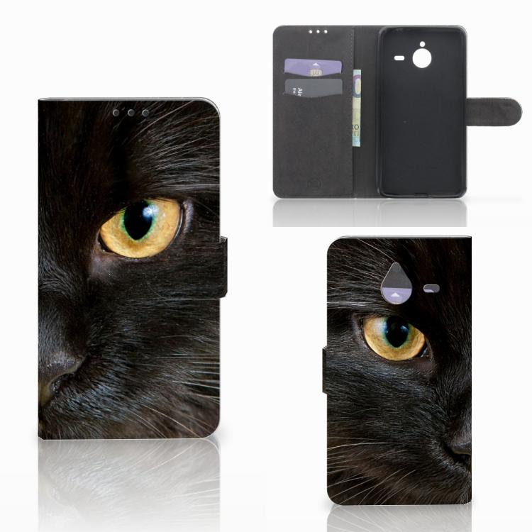Microsoft Lumia 640 XL Telefoonhoesje met Pasjes Zwarte Kat
