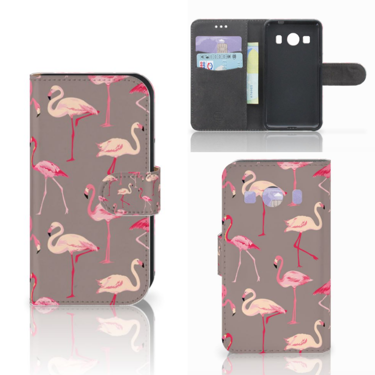 Samsung Galaxy Ace 4 4G (G357-FZ) Telefoonhoesje met Pasjes Flamingo