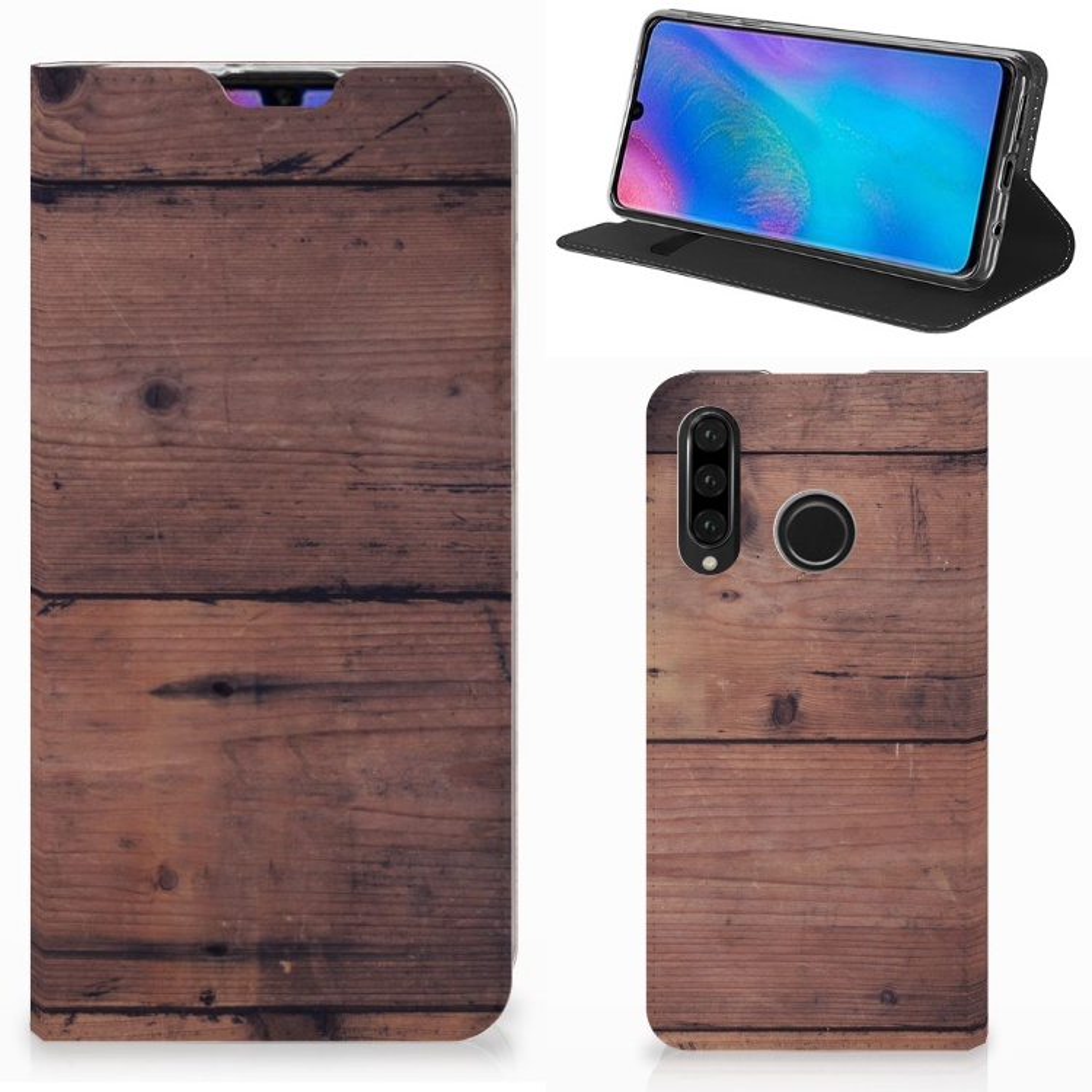 Huawei P30 Lite Book Wallet Case Old Wood