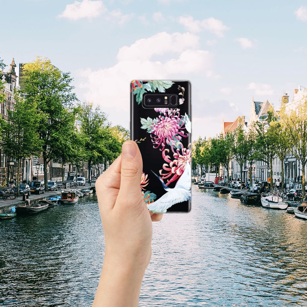 Samsung Galaxy Note 8 Uniek TPU Hoesje Bird Flowers
